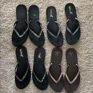 4 pairs of Reef stargazer Flip Flips. Size 10/11.